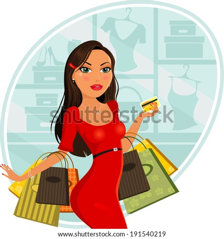 Fashionable woman who makes purchases for stores-two level-gradient mesh-without the effects of transparency-EPS 8 - stock vector