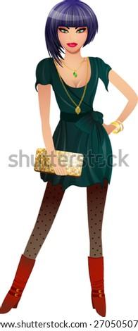 Fashionable Young Woman Vector - stock vector