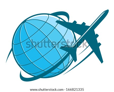 Fast airplane flying around earth as a travel or transportation industry design - stock vector