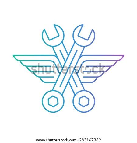 Fast car service. Vehicle maintenance. Linear design. - stock vector