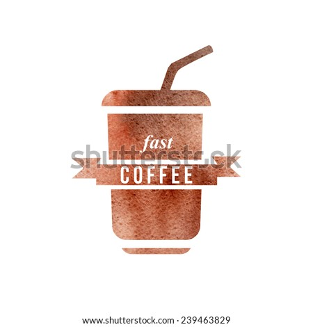 fast coffee watercolor logo template - stock vector