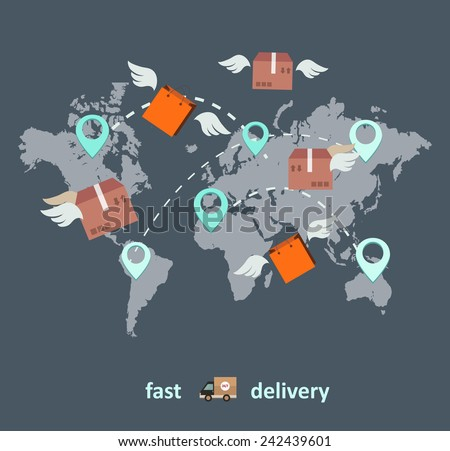 Fast delivery business concept in flat style and stylish colors
