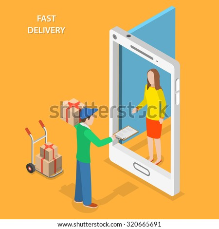 Fast delivery flat isometric vector concept. The Courier stays with the parcel near the door that looks like a smartphone and gives the parcel to the customer. - stock vector