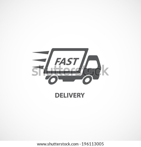 Fast delivery icon silhouette shipping truck isolated on white background vector illustration - stock vector