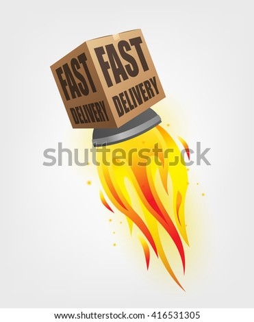 Fast Delivery Package Shipping Online with rocket concept - stock vector