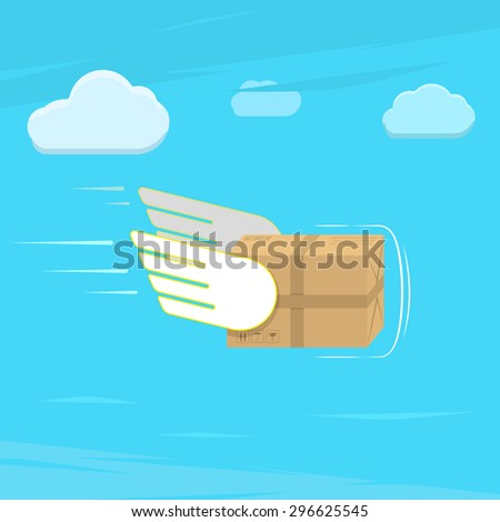 Fast delivery service flat vector illustration. Parcel with wings flies in sky among clouds. - stock vector