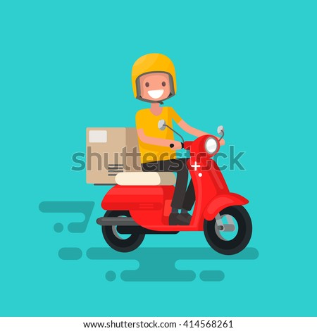 Fast delivery. The guy on the bike in a hurry to deliver the order - stock vector