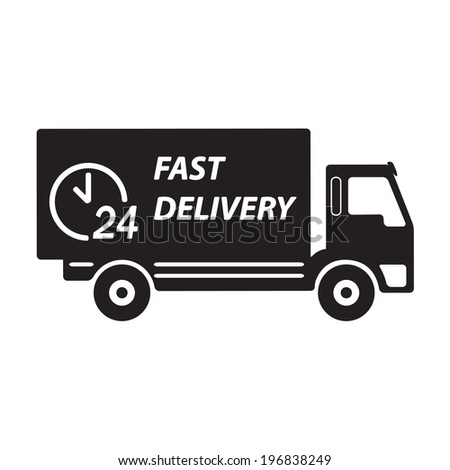 Fast delivery truck. Vector icon or sign.