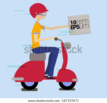 Fast Delivery. Young man character on motorbike. Vector illustration - stock vector