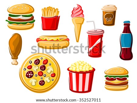 Fast food and beverage icons with french fries, italian pizza, hamburger, cheeseburger, ice cream, soda, chicken, hot dog, coffee cup and popcorn box. For takeaway delivery or cafe design usage - stock vector