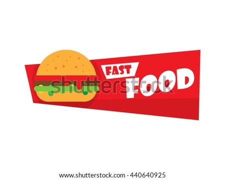 Fast food and burger Design Label or Sticker - Design Template. Vector illustration burger logo.