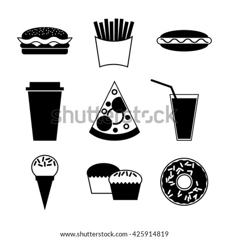 Fast food and drink icon on white background