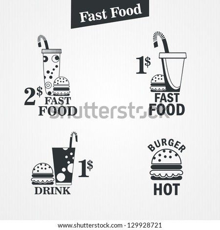 fast food and drink set. vector illustration - stock vector