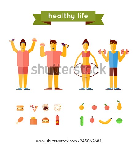 Fast food and healthy eating. Thick and thin people. Lifestyle. - stock vector