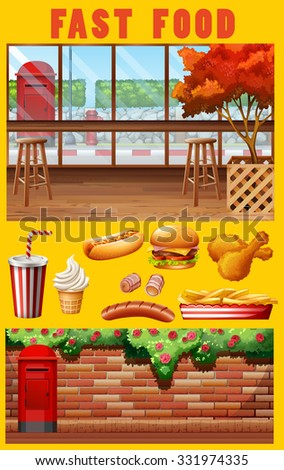 Fast food and restaurant illustration - stock vector