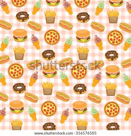 Fast food background with doughnut, hotdog, ice cream, burger, fries, pizza, vector illustration. - stock vector