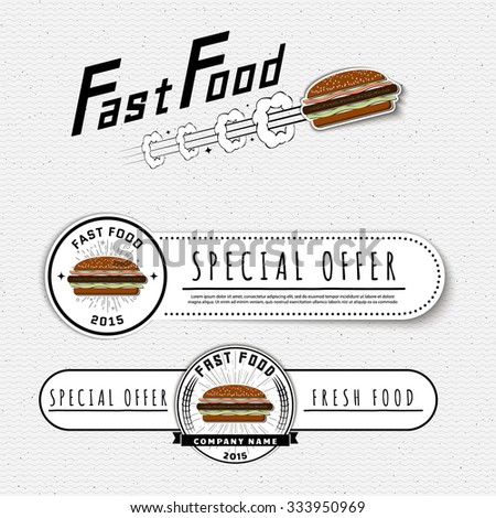 Fast food badges logos and labels can be used to design signage bistro, restaurant, fast food, on business cards and branding