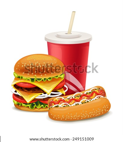 Fast food banner with hot dog and soda - stock vector