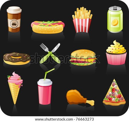 Fast food black background  icon set: coffee, hot dog, french fries, doughnut, fork, burger, fruitcake, ice-cream, drink, chicken, pizza - stock vector