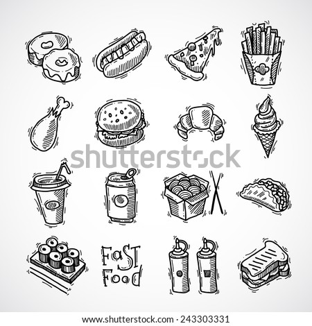 Fast food black sketch decorative icons set  with donut hotdog pizza and french fries isolated vector illustration - stock vector
