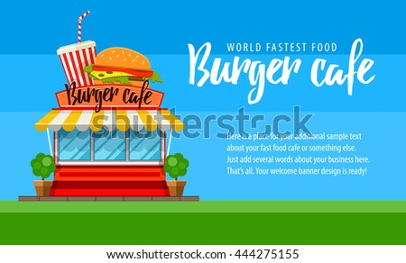 Fast food burger cafe, shop store flyer or banner design shop-window facade hamburger and cola drink. Fastfood sign front view on the market house building with burgers, soda, flat vector illustration - stock vector
