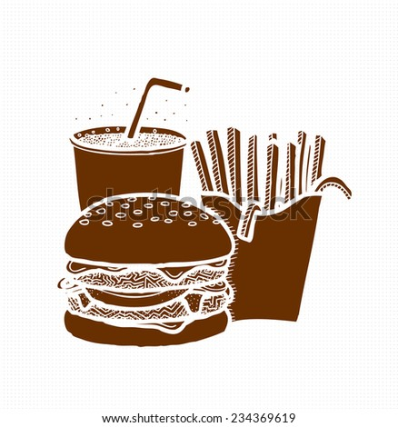 Fast Food, Burger, French Fries and Cola Silhouettes