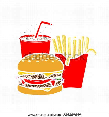 Fast Food, Burger, French Fries, Cola