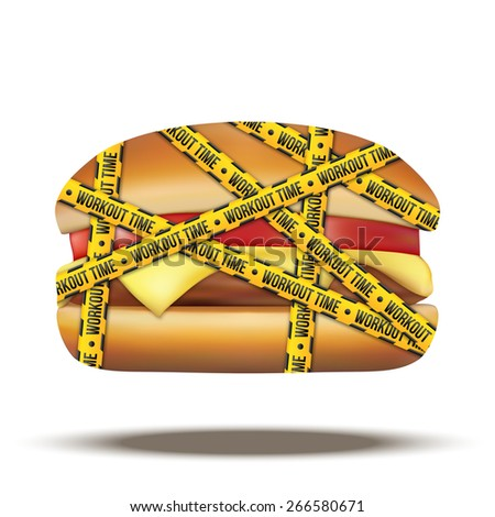 fast food burger with workout time tapes. Vector Illustration isolated on white background. - stock vector