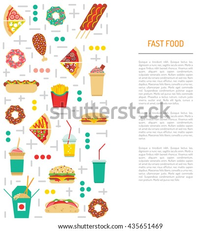 Fast food, burgers, sandwiches, tasty food. Meals fast food, drawn in a flat style. Fast food elements of street culture eating. Vector fast food restaurant. Isolated fast food set - stock vector