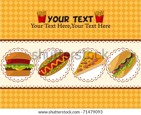 fast food card - stock vector