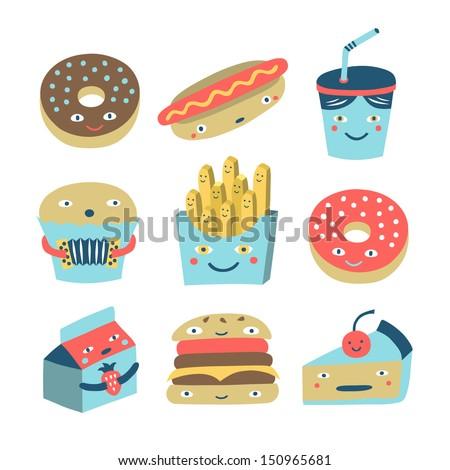 fast food cartoon set - stock vector