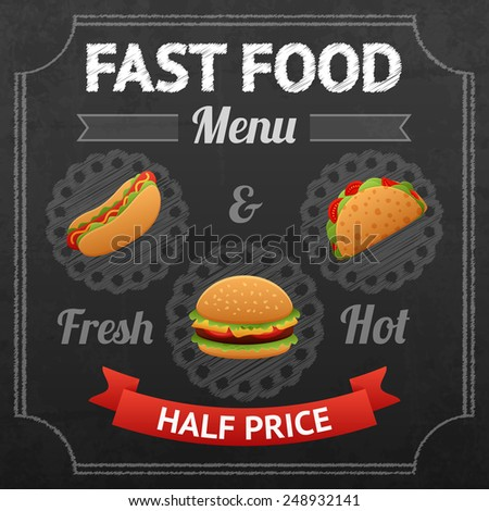 Fast food chalkboard poster with fresh and hot hotdog taco and hamburger vector illustration