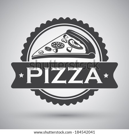 Fast food cheese tomatoes salami pepper pizza slice emblem vector illustration - stock vector