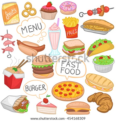 Fast Food Color Isolated Doodle Icons Hand Made