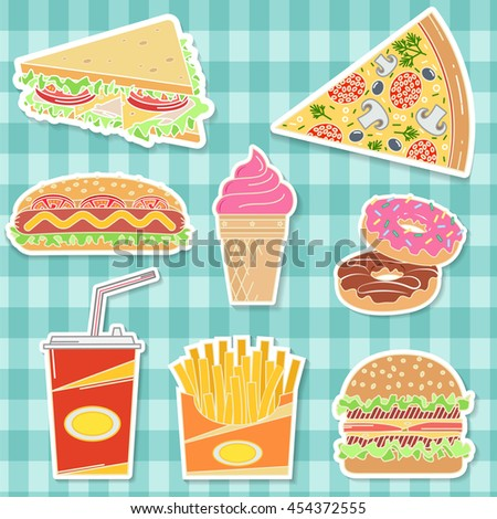 Fast food colorful flat design icons set. Elements on the theme of the restaurant business. Ice cream, hot dog, french fries, soda cup, pizza slice, burger, sandwich and donut. Vector illustration.