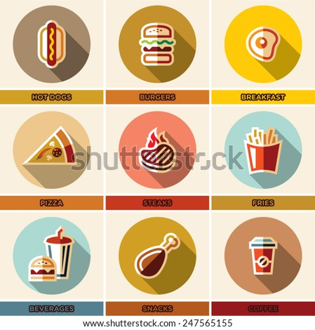 Fast food colorful flat icons set. Food icons vector set with long shadow - stock vector