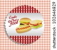 fast food combo label with a hamburger, hot dog and sandwich, vector illustration - stock vector