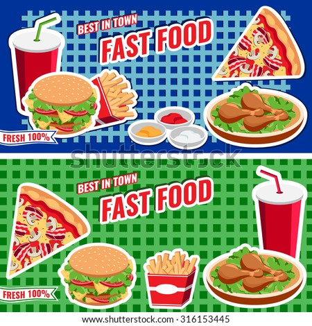 Fast food concept banner flat style, vector banner templates with burger, pizza, soda, fries for web design, placard, billboard.