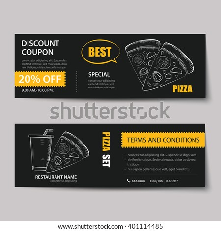 fast food coupon discount template flat design - stock vector