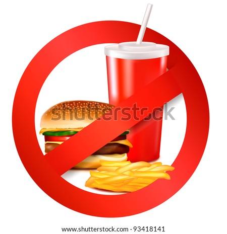 Fast food danger label. Vector illustration. - stock vector