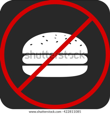 Fast food danger label. Vector illustration hamburger white icon on gray background, red prohibition sign, ban, promotion of a healthy diet - stock vector