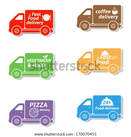 Fast food delivery car icons - stock vector