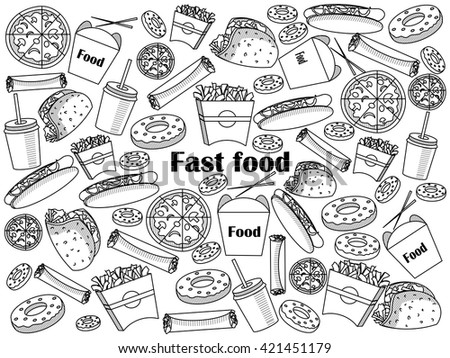 Fast food  design colorless set vector illustration. Coloring book. Black and white line art