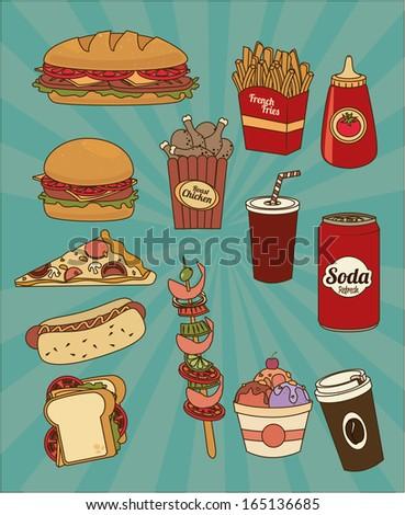 fast food design over blue background vector illustration - stock vector