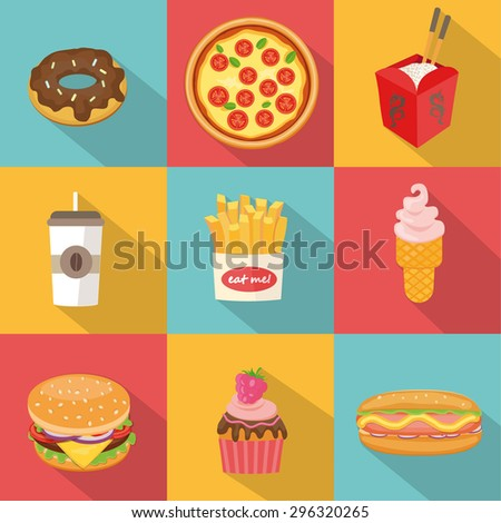 Fast food design. Vector illustration set in flat style.