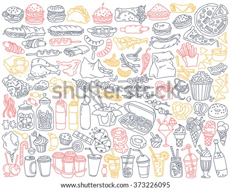 Fast food doodle set. Various take away meals, snack and drinks - burgers, french fries, chicken wings, barbecue, sweets, soda, coffee to go. Vector illustration isolated over white background. - stock vector
