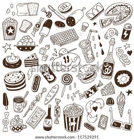 fast food - doodles collection - stock vector