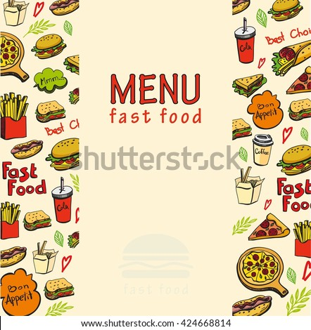 Fast Food Doodles Elements Frame Background Stock Vector 424668814 ...