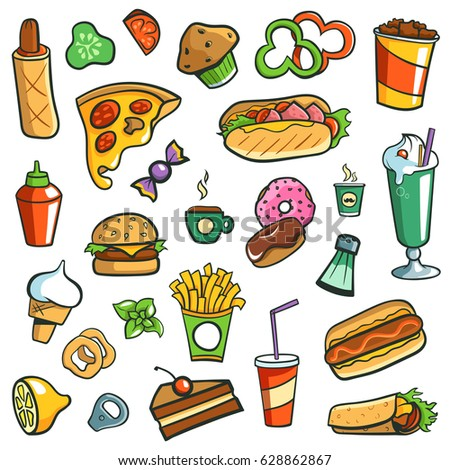 Fast Food Drawings White Background Stock Vector 628862867 ... Hamburger And Hot Dog Clip Art