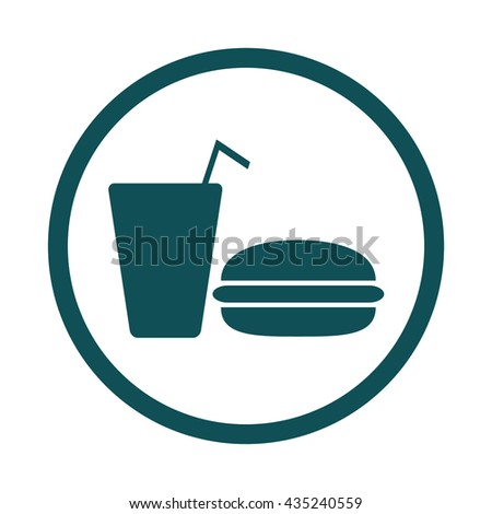 Fast food / drink / meal icon / circle / button / vector illustration